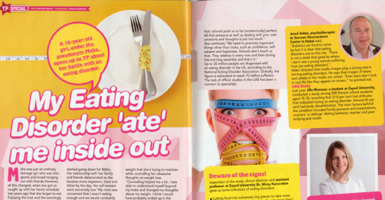 Eating Disorders in Dubai | Expert, Jared Alden, in Young+ Magazine