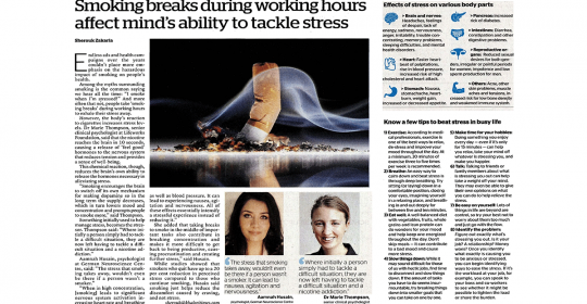 Smoking breaks during working hours affect mind's ability to tackle stress