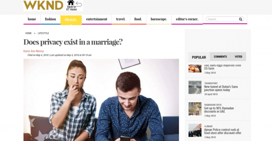 Does privacy exist in a marriage? – Khaleej Times Article