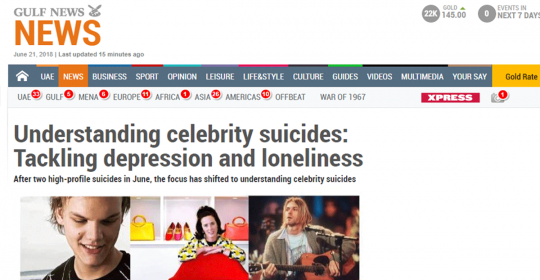 Understanding celebrity suicides – Gulf News Talks With Psychiatrist Dr. Daniela Graf