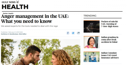 Gulf News: Anger management in the UAE: What you need to know